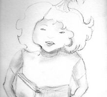 sketch of a girl reading by Dawna Morton