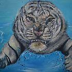 White Tiger in Water by Nicky Phillips