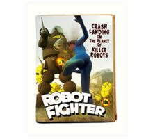 Robot Fighter Fake Pulp Cover 2 Art Print