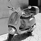Vespa in the Sunshine (Black &amp; White) by Victoria Ellis