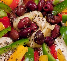 Mozzarella, Peppers, And Kalamata Antipasto by phil decocco