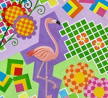 FLAMINGO IN COLORS AND SHAPES WITH SQUARS by RainbowArt
