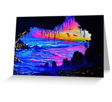 Misty cave Sunset Greeting Card