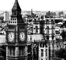 London Parliament with Big Ben and Westminister Abbey by Angela E.L. Clements
