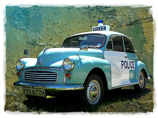 Morris Minor Police Car in Art by hootonles