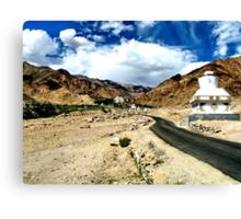 temple road. ladakh, india Canvas Print