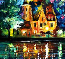 town by the riverside - original oil painting on canvas by Leonid Afremov by Leonid  Afremov