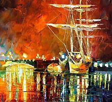 Night Resting - original oil painting on canvas by Leonid Afremov by Leonid  Afremov