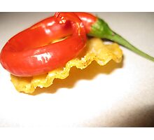 Red Chili on a Crinkle Cut Chip Photographic Print