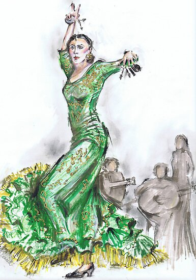 Green Flamenco or Flamenco Verde by Jill Bennett