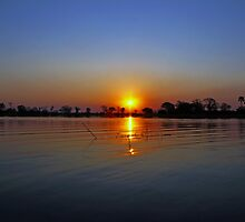 Sunset on The Okavango Delta, Botswana by Jennifer Sumpton