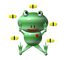 Cute frog and flies by Rose Santuci-Sofranko