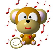 Cute musical monkey by Rose Santuci-Sofranko
