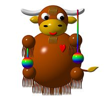 Cute yak with yo-yos by Rose Santuci-Sofranko