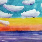 Fantasy Sunset, watercolor by Anna  Lewis