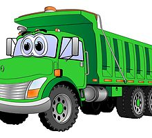 Green Dump Truck 3 Axle Cartoon by Graphxpro