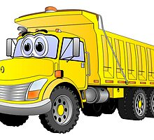Yellow Dump Truck 3 Axle Cartoon by Graphxpro