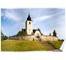 Reformed church at lake Balaton, Hungary Poster