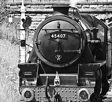 Passing Steam Train in B/W by Paul Collin