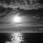 Ocean Sunset in Black &amp; White by Lucinda Walter