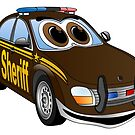 Sheriff Brown Car Cartoon by Graphxpro