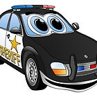Sheriff Black White Car Cartoon by Graphxpro