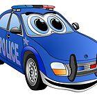 Police Blue Car Cartoon by Graphxpro