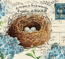 Birds Nest with Blue Flowers by claryce84