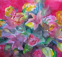 Flower bouquet deep pink original watercolour  by natalyborissov