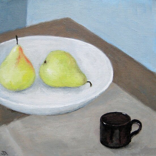 Still Life with Two Pears and Espresso Cup by Jude Allman