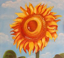 Sun Flower Oil Painting by Manuel Fernandes