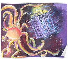 The Tardis Escapes From A Mutant Orange Poster