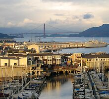 San Francisco Wharf and Golden Gate Bridge by David Denny