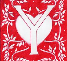 Red Heart Letter Y by Donna Huntriss