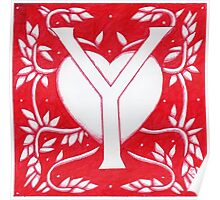 Red Heart Letter Y Poster
