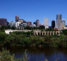 Denver across the South Platte River by Klaus Girk