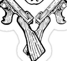 Skull and Tommy Guns Sticker