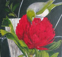 Waxeye on Waratah by SallysC