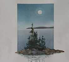 Moonlight over Caron Island by Rita Chisholm