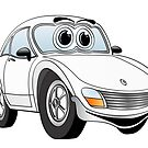 White Sports Car Cartoon by Graphxpro