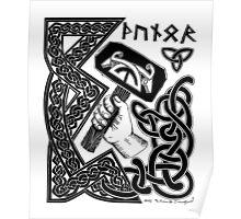 Thor Black on White Print Poster