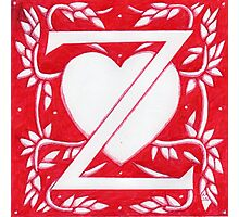 Red Heart Letter Z Photographic Print