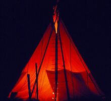 Fire inside tipi by Jens Didriksen
