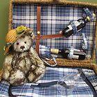 Teddy in a basket by Audrey Clarke