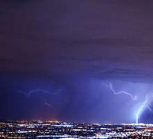Lightning over West Valley City, Utah by Ryan Houston