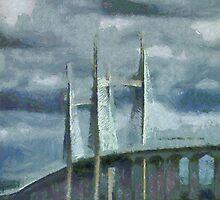 Severn Bridge, Bristol, UK by buttonpresser