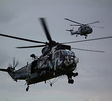 Sea King with Lynx above by Andy Jordan
