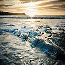 Sunset, sea and rocks at Abereiddy by Robin Whalley