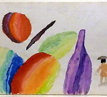 1970 WATERCOLOR SKETCH, FRUIT, KNIFE, BOTTLE AND STATUETTE by Stacey Lazarus