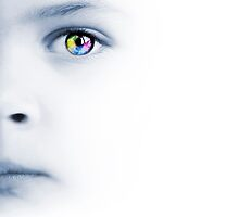 Child's face, colorful eye and map by Olga Altunina